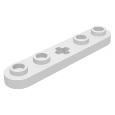 LEGO® 32124  White Technic, Plate 1 x 5 with Smooth Ends, 4 Studs and Center Axle Hole