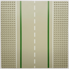 LEGO® 80547pb01 Light Gray Baseplate, Road 32 x 32 7-Stud Straight with Road with White Sidelines Pattern
