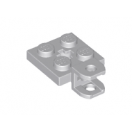 LEGO® 63082 Light Bluish Gray Plate, Modified 2 x 2 with Towball Socket, Short, Flattened with Holes and Axle Hole in Center