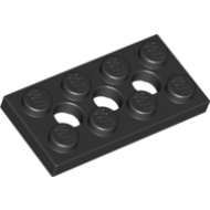 LEGO® 3709b Black Technic, Plate 2 x 4 with 3 Holes