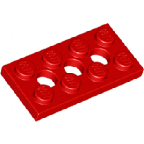 LEGO® 3709b Red Technic, Plate 2 x 4 with 3 Holes