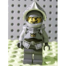 LEGO® cas335 Fantasy Era - Crown Knight Plain with Breastplate, Helmet with Visor, Curly Eyebrows and Goatee, Dark Bluish Gray Hips and Legs