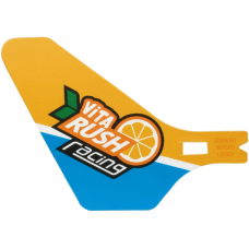 LEGO® bb1116pb04 Plastic Tail for Flying Helicopter with ViTA RUSH racing Logo on Bright Light Orange and Dark Azure Background Pattern on Both Sides