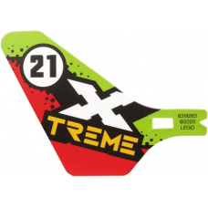 LEGO® bb1116pb03 Plastic Tail for Flying Helicopter with X TREME and 21 in Circle on Lime and Red Background Pattern on Both Sides
