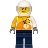 LEGO® cty1198 Helicopter Pilot - Jacket with ViTA RUSH Logo, Dark Blue Legs, White Helmet