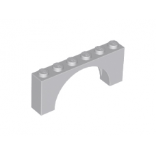 LEGO® 15254 Light Bluish Gray Brick, Arch 1 x 6 x 2 - Medium Thick Top without Reinforced Underside